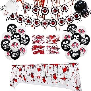 Gukasxi 30 szt. krwawe odręczne dekoracje halloweenowe zestaw banerów zawiera Halloween straszne balony imprezowe, krwawe ...
