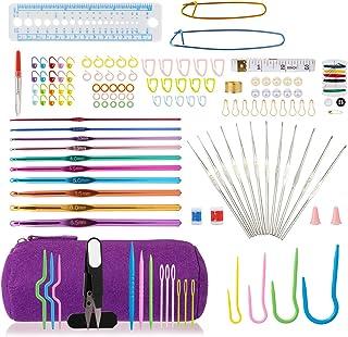 LIHAO 140pcs Tricot Crochet Laine Accessoires Trousse Complete 22pcs Aiguille à Crochet Tricoter Débutant Loisirs créatifs...