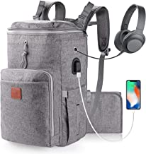 Expandable Diaper Bag Backpack Multi-Functional Large Capacity Travel Diaper Backpackwith USB Charging Port, Changing Pad and Stroller Straps