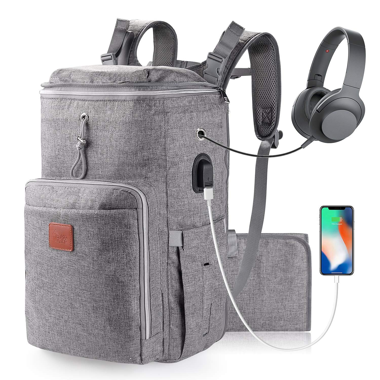 Large Diaper Bag Backpack for Twins or Two Kids, Expandable Grey Baby Diaper Bag for Mom Dad Extra Large Travel Diaper Backpack with USB Charging Port, Portable Changing Pad, Stroller Straps