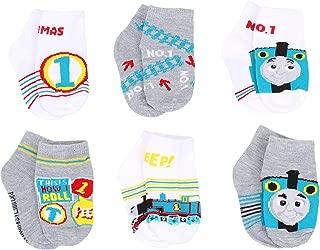 Thomas & Friends Little Boy's 6-Pack Character Quarter Socks, Toddler Shoe Size 4-7, White/Grey