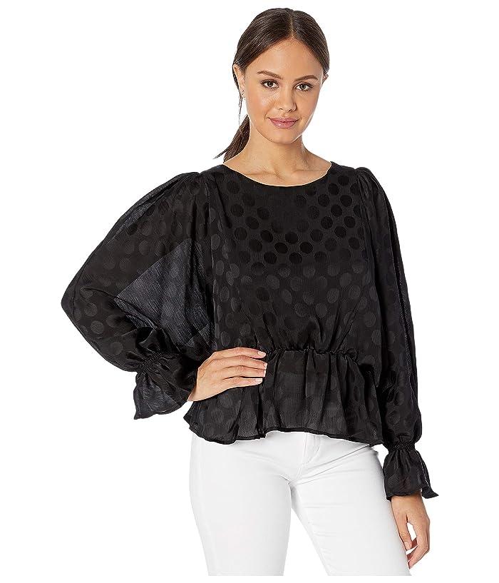 BB Dakota  Dot A Dream Jacquard Dot Chiffon Blouse (Black) Womens Clothing