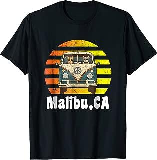 Malibu CA Road Trip T-Shirt Retro Vintage Hippie Van