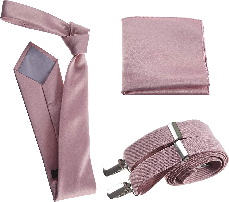 Tuxgear Mens Self Tie Neck Tie Suspender and Pocket Square for Wedding Prom