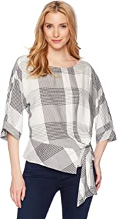 Vince Camuto Womens Oversized Plaid Dolman Sleeve Side Tie Blouse