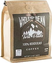 Twin Peaks Premium 100% All Natural Honduran Arabica Whole Bean Coffee, Non GMO, 12 ounce bag