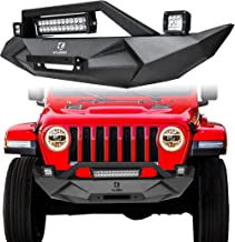 Vijay Black Front Bumper w/Winch Plate & 72W Light Bar & 2X 18W Spotlights & License plate bracket for 2018-2019 Jeep Wrangler JL