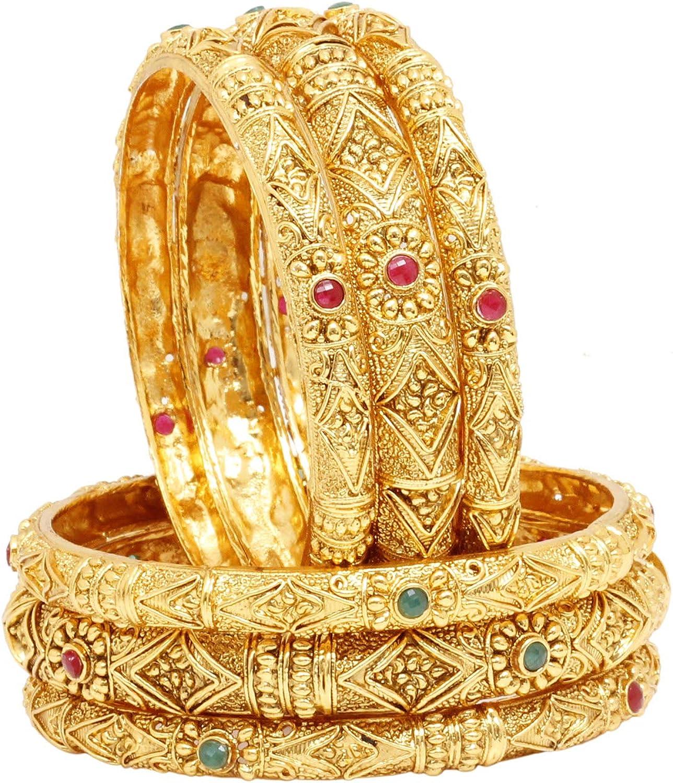 Sukh Collection Jewellery Indian Bollywood Traditional Designer Women Wedding Style Pakistani Gold Tone 6 pcs Bangles Bracelet Kada Fashion Jewelry