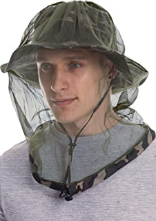 Bayinbulak Mosquito Head Net Hat, Men or Women Safari Fising Hat with Hidden Net Mesh Protection from Insect Bug Bee Gnats for Outdoor
