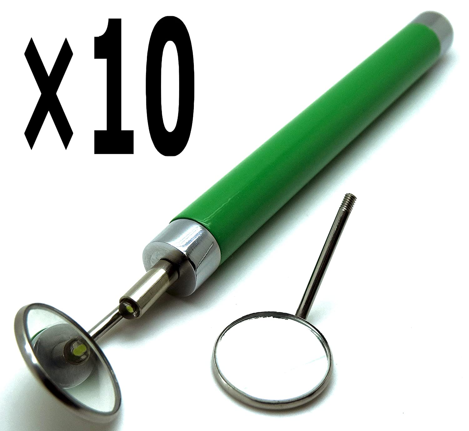 Soldering 10 Special price Pcs Dental Light Mirror Green Mirrors Removable #5 Exa Handle