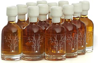 Award Winning Escuminac Unblended Maple Syrup 12 x 50ml Wedding Favors And Stocking Stuffers - Canadian Grade A - Extra Rare - Pure Organic Single Forest - Smooth Velvety 1.7 fl oz Sample Size