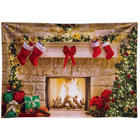 ZC Dawn Photography Christmas Backdrops Christmas Decoration Background Xmas Fireplace Holiday Photo Backdrop