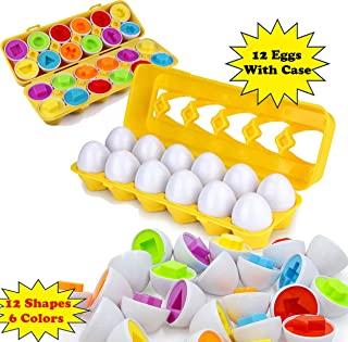 Littolo Matching Eggs, Toddler Toys, Educational Colors & Recognition Skills Study Toys, for Learn Colors & Shapes Match Egg Set, For Age 2 Years Old &Up, Kids Baby Toddler Boys Girls.(12 Eggs & Case)