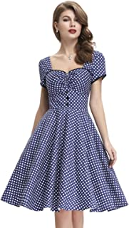 Belle Poque Women's Polka Dot Retro Vintage Style Cocktail Party Swing Dress BP113