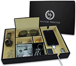 Mastery Prestige Valet Tray Organizer - Nightstand Dresser for Men with Large Phone Charging Station - Black PU Leather and Suede Storage Box - Top Bedside for EDC Jewelry Watch Wallet Key