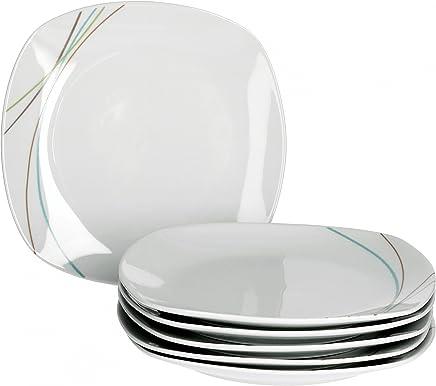 Preisvergleich für Van Well Aliha 6er Set Frühstücksteller, Kuchenteller, Dessertteller, Ø 19 cm, Liniendekor, edles Marken-Porzellan