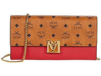 MCM Mena Visetos Leather Block Flap Wallet/Two-Fold Large (Ruby Red) Handbags