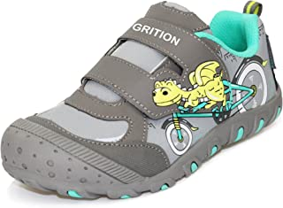 GRITION Kids Athletic Dinosaur Shoes Hook Loop Sneakers Walking School Water Resistant
