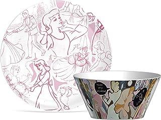 Zak Designs Disney Princess Cinderella Dinnerware Set Break Resistant Plate and Bowl Make Mealtime Fun, 2pc