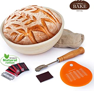 Proofing Basket Baking Kit for Professional and Beginner Bakers – Natural Wooden Bread Basket and Bread Baking Supplies Set with Silicone Bench Scraper, Bread Lame, and Cloth Liner by A Piece of Bake