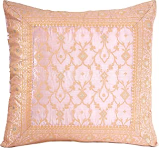 Worldcraft Indian Sari Decorative Pillow Cover. Colorful Accent Couch Throw Pillows. Hand Stitched from Embroidered Fabric. 20X20 inches, Light Pink