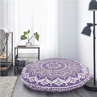 comprar comparacion Radhykrishnafashions - Funda de cojín para suelo, diseño de mandala hippie, color morado