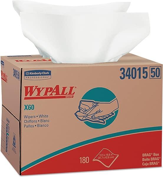 WypAll 34015 X60 Cloths BRAG Box White 12 1 2 X 16 7 8 Box Of 180