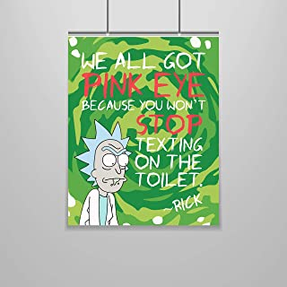 Rick and Morty Poster – 16 x 20 – Funny Poster – Bathroom Decor – Dorm Room Decor – Bathroom Poster – Rick Sanchez – Teen Room – Dorm Wall Art