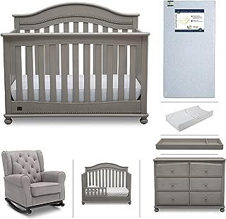 Baby Nursery Furniture Set - 7 Pieces Including Convertible Crib, Dresser, Rocking Chair, Crib Mattress, Toddler Rail, Changing Top, Changing Pad - Simmons Kids Bristol Storm Grey/Dove Grey