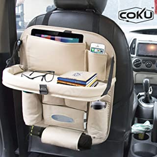 Coku Universal Car Back Seat Organizer with Foldable Food Table Tray PU Leather Multi Pocket Backseat Storage with Tissue ...