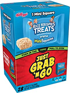 Kellogg's Rice Krispies Treats, Crispy Marshmallow Mini-Squares, Original, Grab 'N' Go, Caddy Box, 0.39 oz Bars (28 Count)