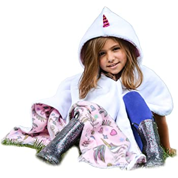Kids Car Seat Poncho Unicorn for Girls Toddlers Infants Traveling Cover Warm Blanket Safe Use OVER Seat Belts Costume