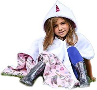 Unicorn Car Seat Poncho Halloween Costume for Girls Toddlers Infants Traveling Cover Warm Blanket Safe Use OVER Seat Belts Costume