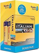 Rosetta Stone Learn Italian Bonus Pack Bundle| Lifetime Online Access + Grammar Guide + Dictionary Book Set| PC/Mac Keycard