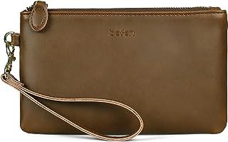 Befen Damen-Portemonnaie aus echtem Vollnarbenleder, Clutch, Smartphone-börse