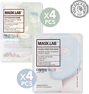[THEFACESHOP] Mask.Lab Double Wrap Premium Facial Sheet Mask, Chitosan & Double Wrap X 4 Sets (Total 8 Sheets) /(25G Each)