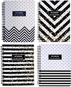 Yansanido 4 Pack (A5) Spiral Notebooks Journal Hardcover 8.26 x 5.9 Inch 160 Pages Notebook White Paper for Students Office School Supplies (Style 7- Black White 4 Pack, A5)