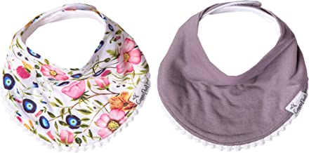 """Baby Bandana Drool Bibs for Drooling and Teething 2-Pack Fashion Bibs Gift Set for Girls """"Isabella"""" by Copper Pearl"""