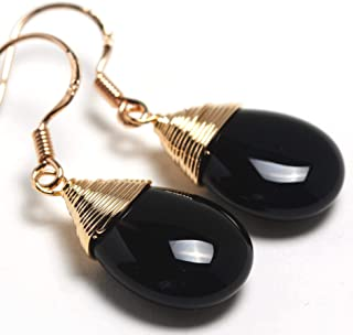 Natural Stone Wire Wrap Dangle Drop Earrings Gold Plated 925 Sterling Silver Hook/Black Onyx Water Drop