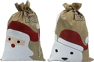 Christmas Linen Sacks. 2 Deisgns Santa & Bear. Pack of 2