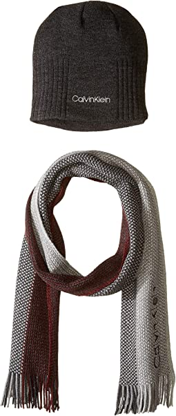 Rib Beanie and Three-Panel Raschel Scarf Set