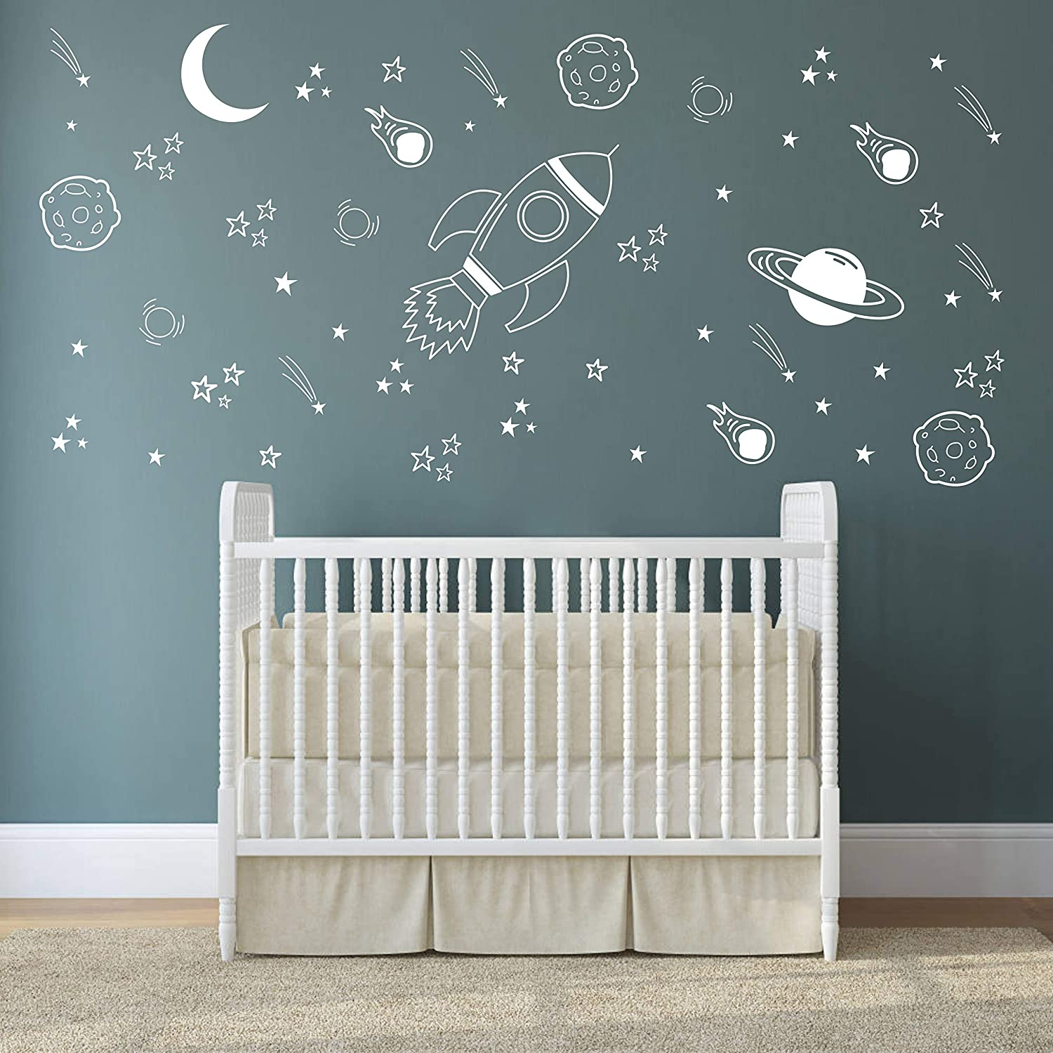 Space Wall Decal Nursery, Outer Space Decor, Rocket Decal, Boy Room Decor,  Space Ship Decal, Space Themed Room, Planets Wall Decal for Baby Boys