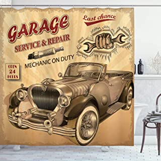 Ambesonne Vintage Shower Curtain, Nostalgic Car with Garage Service and Repair Store Phrase Dated Faded Print, Cloth Fabric Bathroom Decor Set with Hooks, 75