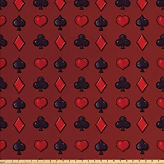 Lunarable Poker Fabric by The Yard, Suits of Cards Pattern with Clubs Spades and Hearts on an Abstract Red Background, Decorative Fabric for Upholstery and Home Accents, 1 Yard, Black Ruby