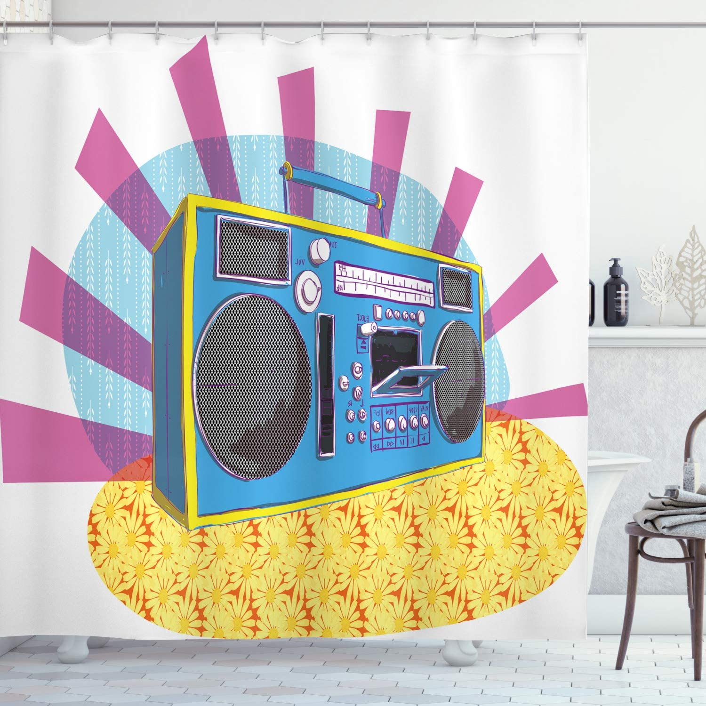 Ambesonne Washington Mall 70s Party Shower Curtain Retro Ma Max 85% OFF Art Boom Box Pop in