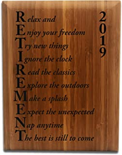 Retirement Plaque Gift for Men and Women 7x9 Bamboo Wood
