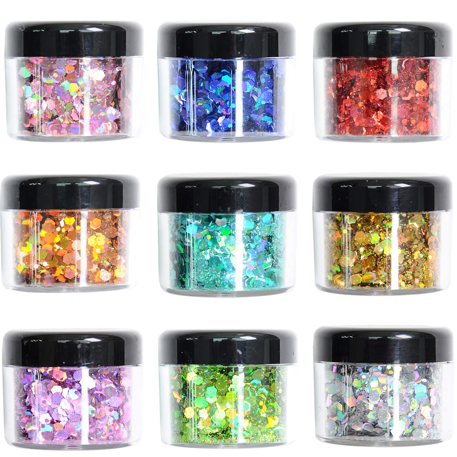 Body Glitter Wenida 9 Colors 190g Holographic Cosmetic Festival Makeup Chunky Powder for Nail Hair Eye Face : Beauty & Personal Care