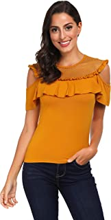Awalis Women Round Neck Off Shoulder Patchwork Short Sleeve Top Shirt Pullover Blouse