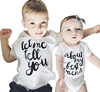 Brother Friend Matching let me Tell You About My Best Friend Print T-Shirt Romper Short Sleeve Cotton Outfits