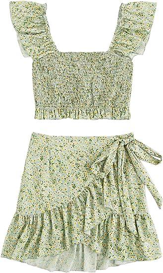 apple green set skirt top